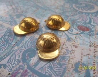 3 Vintage Brass Baseball Caps