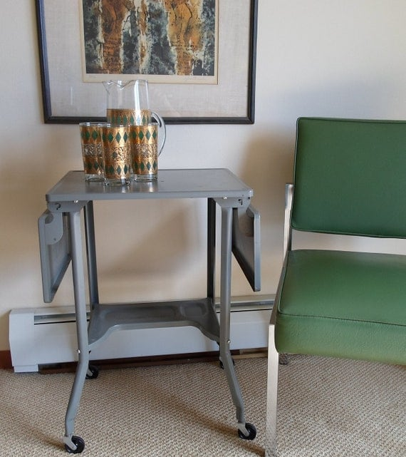 Vintage Metal Rolling Typewriter Stand Industrial Grey Mid