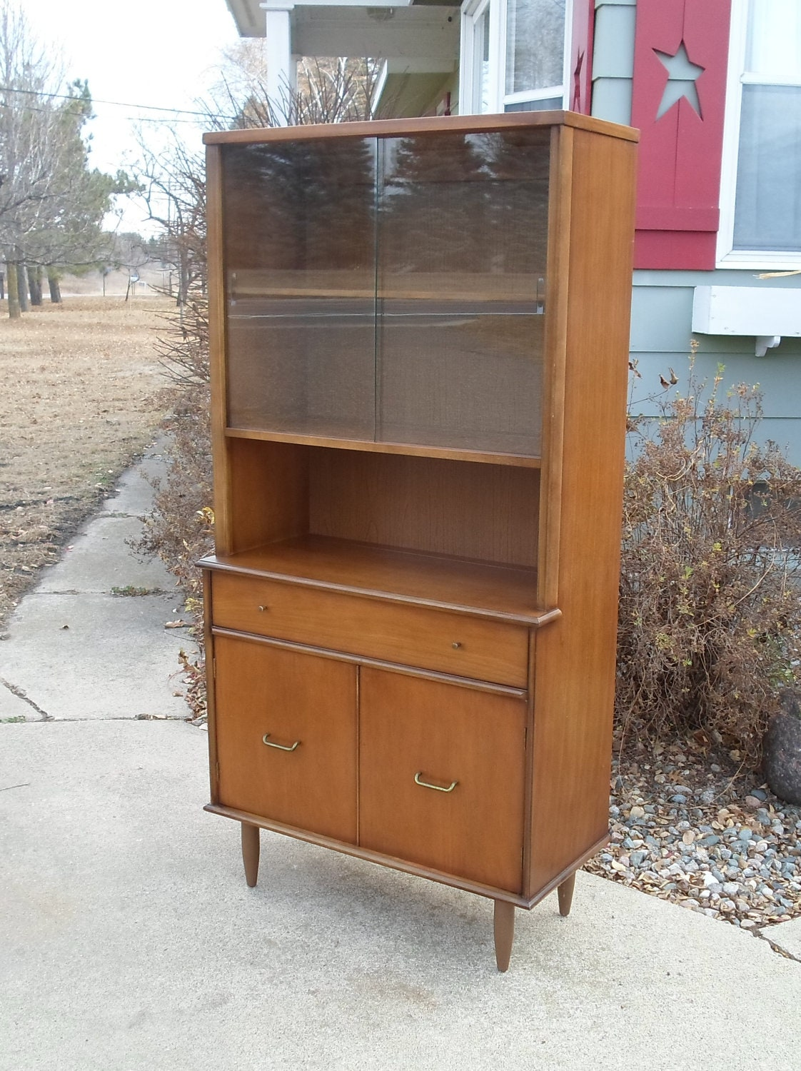 vintage mid century modern china hutch danish modern dark