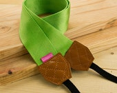 Camera Strap - Shocking Green for DSLR and Mirrorless Cam with Brown Tag