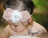 Baby girl headband, Baby vintage headband, Ivory headband,  Girl headband, Infant headband, Fall headband, Photo prop, infants