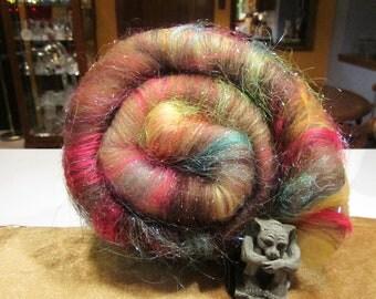 HOPE 4.0 oz, fiber art batt for spinning, carded wool batt, spinning fiber, felting fiber, bling batt, roving, fiber art, angelina sparkle