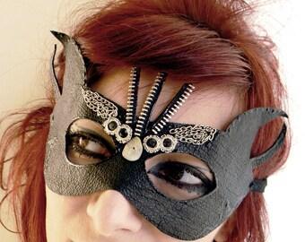 Cuir masque steampunk victorien gothique cuir bijoux lunettes dominatrice dita von teese budoir accessoires masque diable corne masque gothique