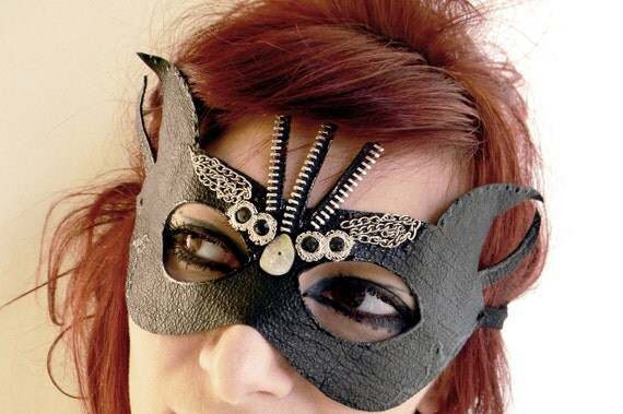 Leather mask steampunk victorian gothic leather jewelry eyewear dominatrix dita von teese budoir accessories mask devil horn mask gothic