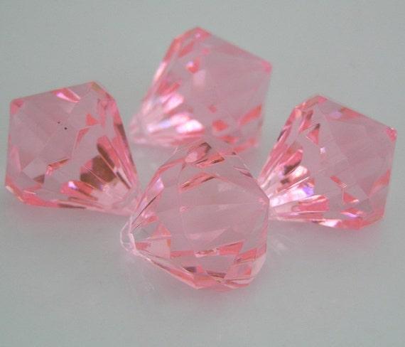 Bubblegum Pendant Large Chunky Facete Diamond Shape Bead Pink -Set of 4- 27mm Chunky Jewelry Pendant Bling