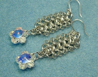 Sterling Silver Chain Maille Earrings, Swarovski Beads in Crystal AB