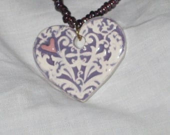 Heart Pendant With Glass Beads Valentine Heart Jewelry, Heart Jewelry, Purple Jewelry, Gift of Love, Heart Pendant
