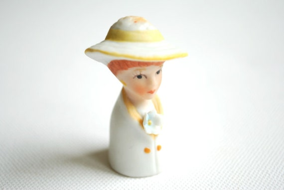 enesco porcelain bisque vintage thimble, sewing , collectibles, lady, yellow hat, mothers day gift, under 20