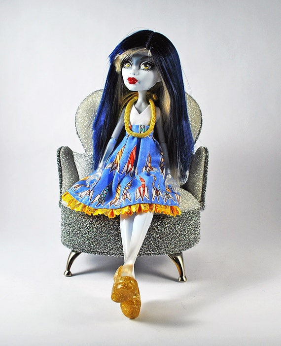 Monster high handmade doll clothes Rocket ship blue and gold dress