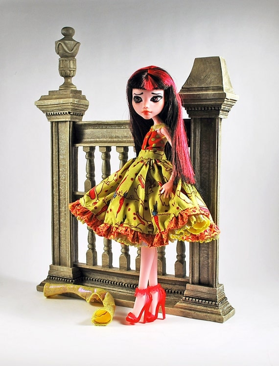 Handmade doll fashions for Monster High doll frilly pleats and wide eyed rabbits two pieces