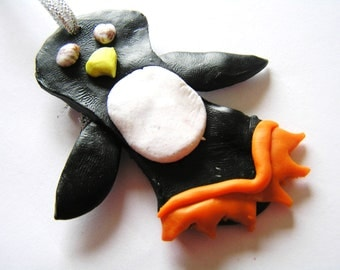 Fun Handmade Polymer Clay Penguin Ornament