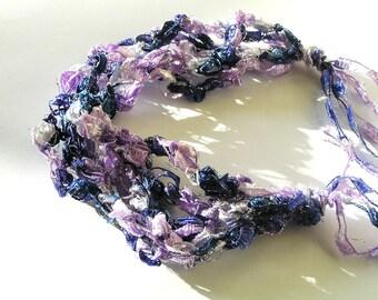 Shades of Purple w Silver Glittery Highlights Crocheted Ladder Ribbon Bracelet