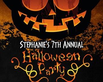 Halloween Invitation - Adult Halloween Invitation - Halloween Party Invitation - Jack O Lantern Invitation- Halloween DIY Invitation