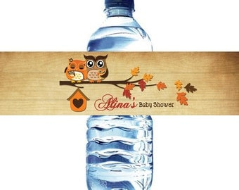 Owls Fall Baby Shower Water Bottle Label Digital File  - Owls Autumn Baby Shower water bottle label DIY - Twin Owls Baby Shower