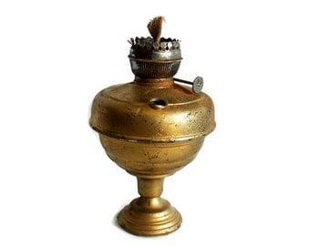 Ditmar oil lamp. 1920s AUSTRIAN kerosene burner Rare antique. Metal, tall, pedestal. Vintage lighting, collectible. Victorian, mantel decor