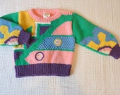 Vintage 80s toddler sweater, 2T. Triangles and color blocking
