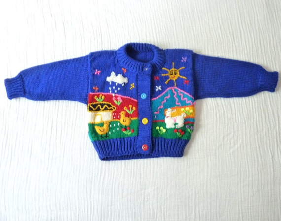 Vintage baby cardigan, 12 to 18 months. Royal blue with embroidered farm scene.