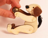 Valentine, Small Gift, Puppy, Dog, Pocket Size,Cute, Doll,Toy, Wood, Hand-Painted.