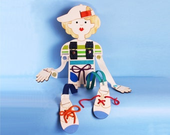 Gift Idea, For Boys, Coordination Doll, Lacing, Small Motors Practice, Buttons, Zippers,Wood Toy.