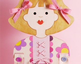 Gift Idea, For Girls, Buttons Practice, Wooden Doll, Lacing, Small Motors Practice, Zippers, Coordination