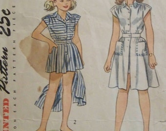 Antique 1947 Simplicity 1962 Pattern for Girls' Playsuit and Skirt in Size 8