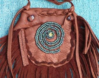 Fringed  Beaded Medicine Bag, Brown Deerskin, Amethyst, Seed Beads, Amulet Bag, Healing Tool, Reiki