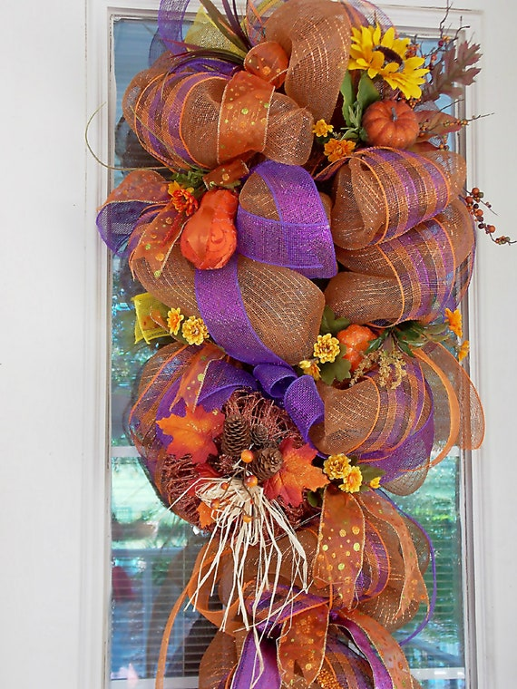 Xl Fall Thanksgiving Deco Poly Mesh Wreath Holidays Deco