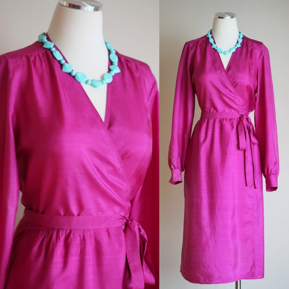 Vintage 1980s Hot Pink Silk Wrap Dress Long by FieryFinishVintage