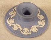 Wedgwood Blue Jasperware Candlestick Holder w/ Bas-relief