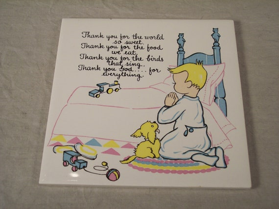 "Boy Praying Wall Hanging Tile, 'Thank You For The World So Sweet..', 6"" x 6"""
