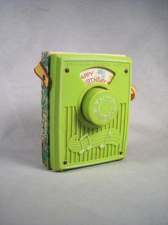 1970 Fisher Price Music Box Pocket Radio Happy