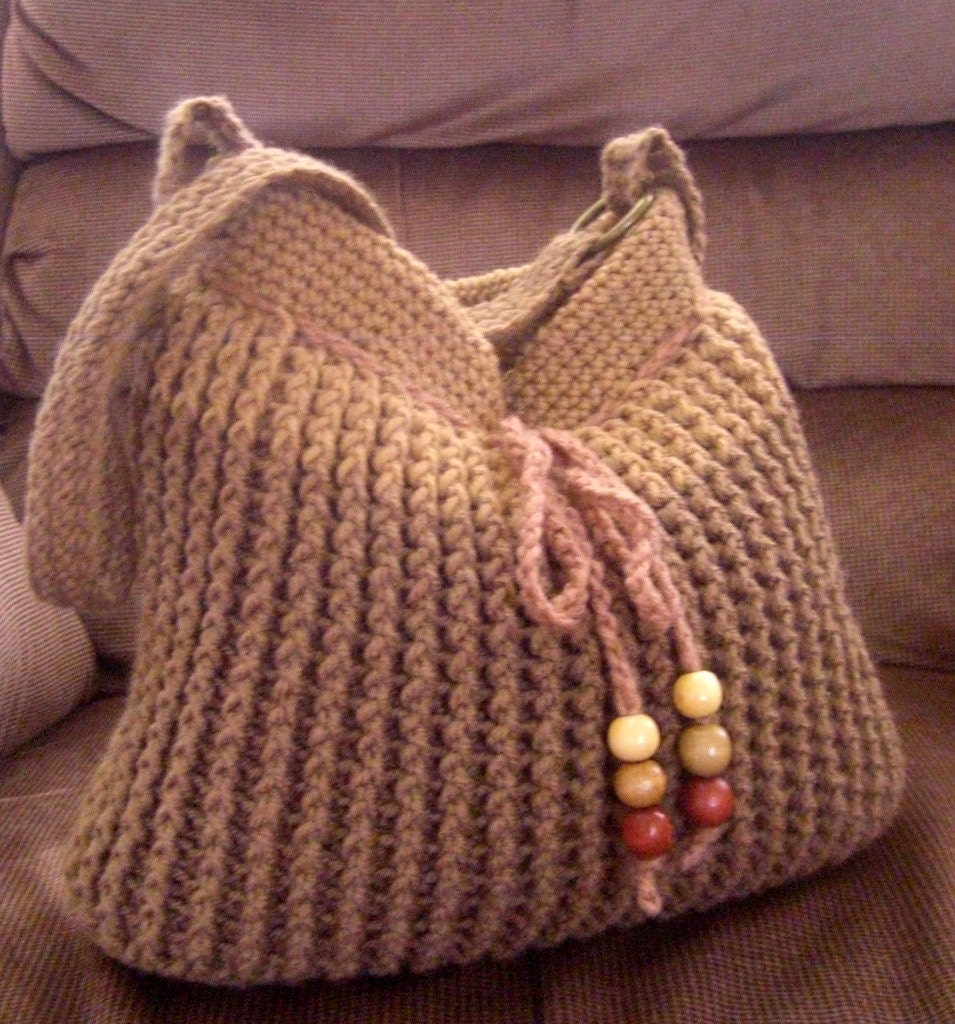 ... /fall shoulder bag, fashion bag 2013, beaded bag, crochet brown purse