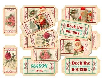 Christmas/Santa Ticket Collage Sheet - INSTANT digital download