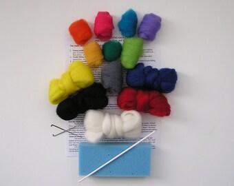 NEEDLE FELTING KIT / Starter Kit for Felting / Country or Primary Colors / starter kit for needle felting / beginner felting kit