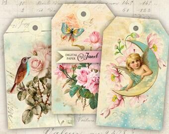 Greeting Tags - digital collage sheet - set of 6 - Printable Download