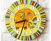 The Striped Orange Elephant  Wall Clock, Home Decor for Children Baby Kid Boy Girl