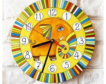 The Striped Orange Elephant Wall Clock, Modern wall clock with numbers, White wall clock, wood clock, yellow home decor, kids gift, Office.