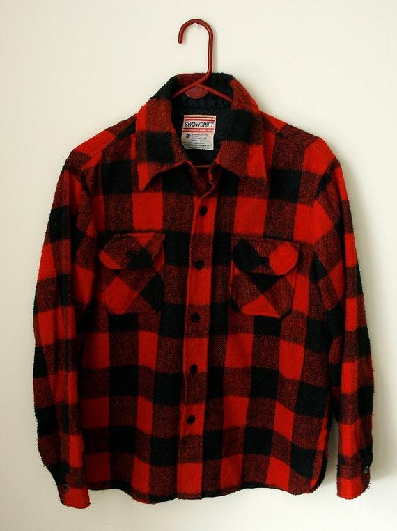 Buffalo Plaid Vintage Button Up Shirt Mens Medium Red And