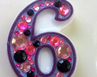 Birthday Candle - Blinged Out Number Candle - SINGLE DIGIT - Rhinestone, glitter, custom made, blingy number candles. First (1st) birthday.