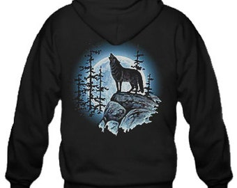 Adult Hoodie / Lone wolf printed on the back