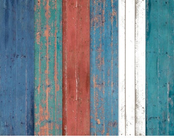 Distressed Wood Paper Pack - Blue, Teal, Red, White - INSTANT DOWNLOAD - For Personal & Commercial Use - Digital Designs