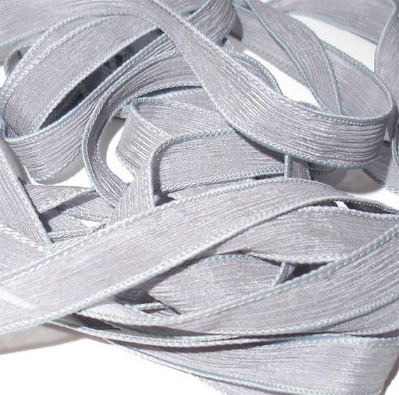 "Slate  42"" hand dyed silk wrist wrap bracelet  ribbon//Yoga wrist wrap bracelet ribbons//Silk wrist wrap ribbon// By Color Kissed Silk"