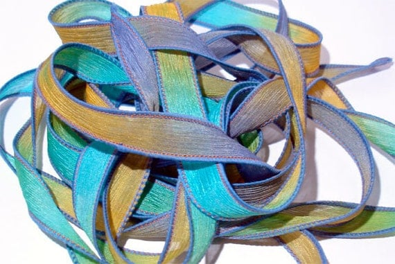 """Fools Gold 42"""" hand dyed wrist wrap bracelet silk ribbon//Yoga wrist wrap bracelet ribbons//Silk wrist wrap ribbon// By Color Kissed"""