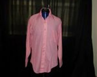 1980's Men's Peach Dress Shirt L-XL