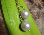 Grey Pearl Gold Dangle Earrings, 10-12mm Grey Freshwater Pearl 14k Gold-Filled 2-Drop Earrings