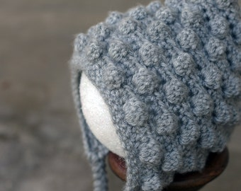 Silver Baby Bobble Bonnet - newborn to 3 months
