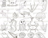 Items similar to Sea animal clipart, digital stamp clip ...