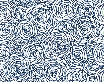 Blossom Fabric by the Yard - Navy and White