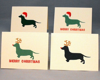 Dachshund Dog Christmas Card Set, Doxie Holiday Cards