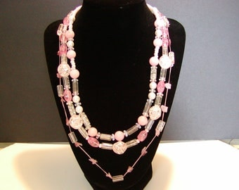 3 Strand Pink and Clear Beaded Necklace